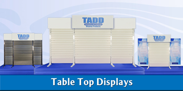 table top displays with slat wall